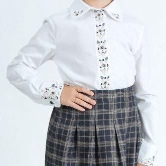 Вышитая рубашка для девочек Гармония бежевая р.122-146 (хлопок 65%)