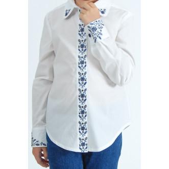 Вышитая рубашка для девочек Гармония синяя р.122-146 (хлопок 65%)