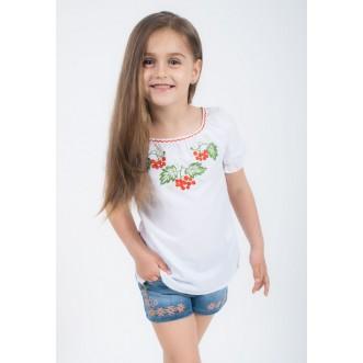 Блуза вышитая КАЛИНА для девочек р.116-164 сборка короткий рукав