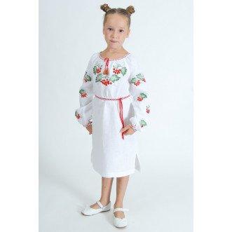 Вышитое платье для девочки Калина р.86-164 (белый лён)