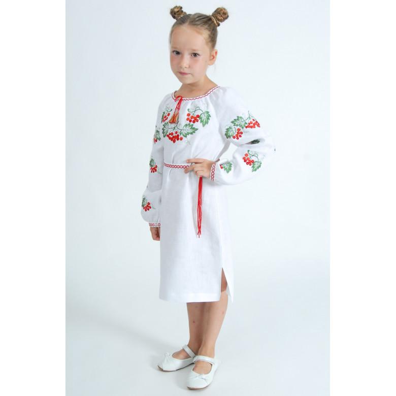 Вишита сукня для дівчинки Калина (білий льон) р.86-164