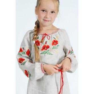Вышитое платье для девочек Маки с колосками р.86-164 (серый лён)