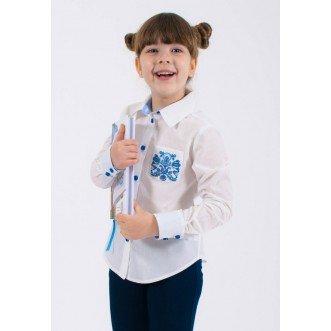 Сорочка для девочки ОЛЬВИЯ синяя, р.122 (хлопок 65%)