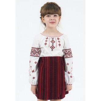Вышиванка для девочек РОВЕНЩИНА красн. р.116-164 (хлопок 65%)