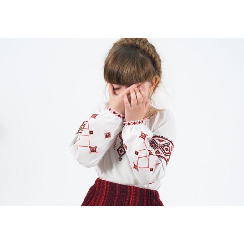 Вишиванка для дівчинки РІВНЕНЩИНА червона р.116-164 (бавовна 65%)