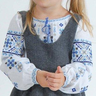 Вышиванка для малышей Семья Велеса р.86-110 (белый лен)