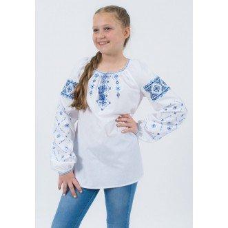Вышиванка для девочек ВЕСНЯНКА синяя, р.116-164 (хлопок 65%)