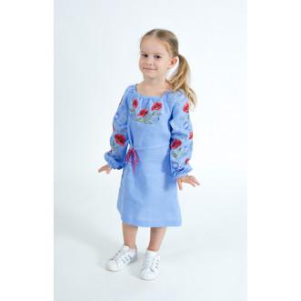 Вышитое платье для девочки Волошковый Рай р.110-140 (небесный лён)