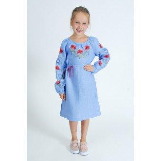 Платье вышиванка для подростков Волошковый Рай р.146-164 (небесный лён)