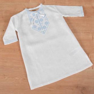 Рубашка для крещения мальчика бело-голубая р.74-98 (белый лен)
