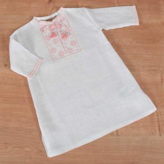 Рубашка для крещения на девочку бело-розовая р.74-98 (белый лен)