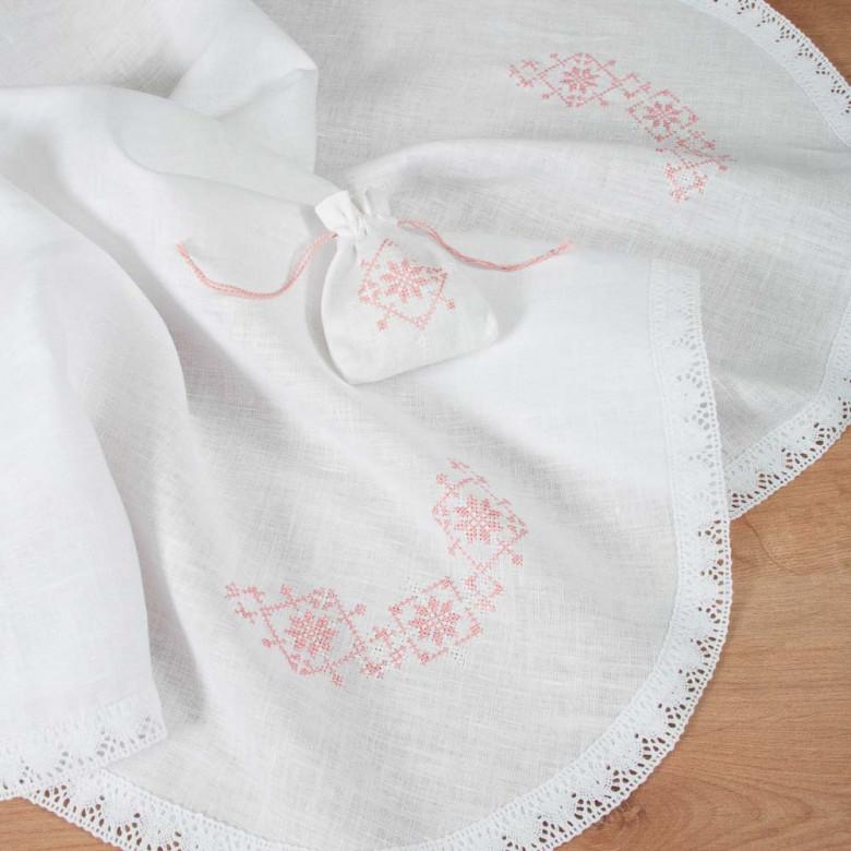 Набір Хрестильний біло-рожевий: крижма та торбинка для волосся (білий льон з мереживом)