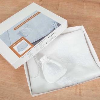 Набор Крестильный белый: крыжма и торбочка для волос (белый лён с кружевом)