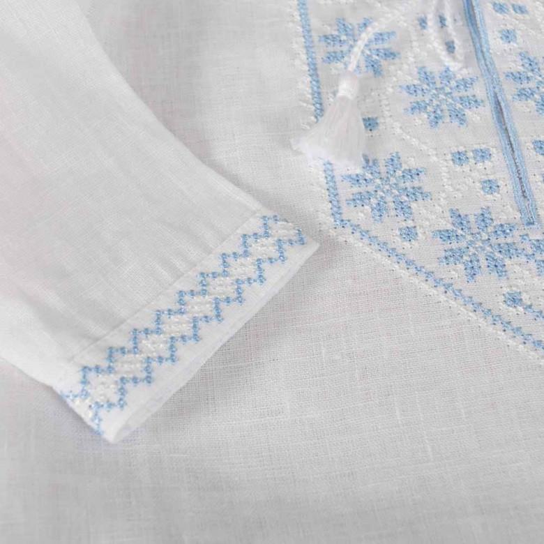 Сорочка для хрещення хлопчика біло-блакитна р.74-98 (білий льон)