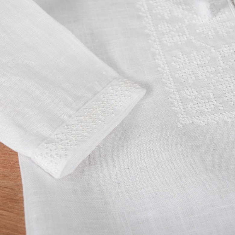 Сорочка для хрещення немовля біла р.74-98 (білий льон)